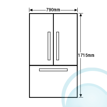 Fisher & Paykel RF522ADUSX4 519L 3 Door Fridge Front Dimensions
